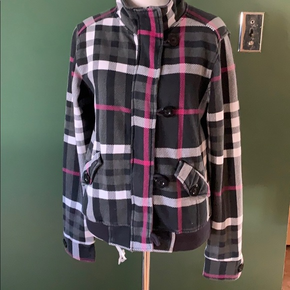 O'Neill black, white & pink plaid jacket M